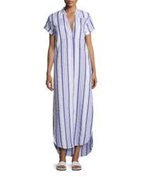 Onia Kim Button Front Coverup Maxi Dress Blue White Blue Pattern