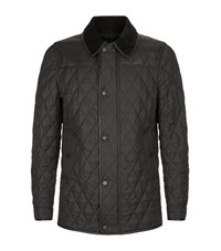 Burberry Quilted Leather Trim Jacket Male Black