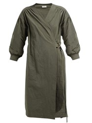 Masscob Marco Long Sleeve Wrap Dress Khaki
