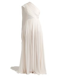 Elie Saab One Shoulder Lace Insert Silk Blend Jumpsuit White
