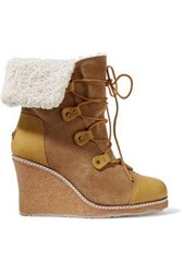 Australia Luxe Collective Mona Shearling Lined Leather And Suede Wedge Boots Tan