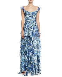 Marchesa Sleeveless Floral Print Burnout Cascading Ruffle Gown Blue