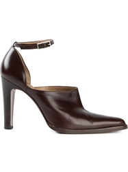 Sergio Rossi Vintage Ankle Strap Pumps Brown