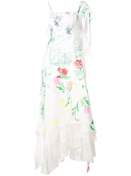 Rosie Assoulin Floral Print Layered Asymmetric Slip Dress White