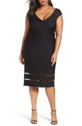 Tadashi Shoji Plus Size Women's Pintuck Jersey Sheath Dress Black