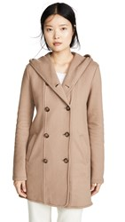 James Perse Double Breasted Hooded Coat Camel