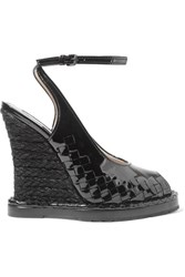 Bottega Veneta Intrecciato Patent Leather Espadrille Wedge Sandals Black