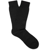 Pantherella Pin Dot Cotton Blend Socks Black