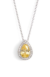 Lafonn 'Lassaire' Canary Stone Pendant Necklace Silver Canary Yellow