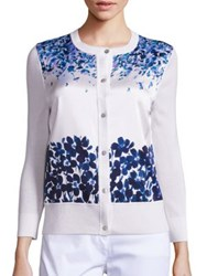 St. John Floral Print Silk And Knit Cardigan Bianco Navy