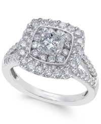 Macy's Diamond Cluster Engagement Ring 1 3 8 Ct. T.W. In 14K White Gold