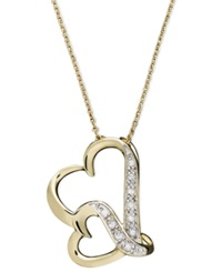 Macy's Double Wavy Heart Diamond Pendant Necklace In 18K Gold Over Sterling Silver 1 10 Ct. T.W.