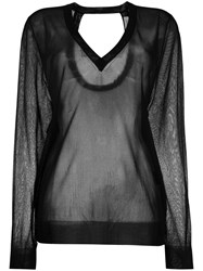 Christian Wijnants Sheer V Neck Sweater Women Polyester Viscose S Black