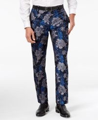 Inc International Concepts I.N.C. Men's Slim Fit Brocade Pants Created For Macy's Navy Combo