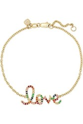 Sydney Evan Medium Love 14 Karat Gold Multi Stone Bracelet One Size