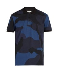 Valentino Camouflage Print Cotton Polo Shirt Navy