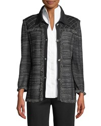 Misook Button Front Knit Jacket With Fringe Mink Marrble Blac