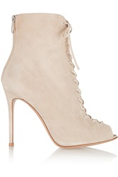 Gianvito Rossi Lace Up Suede Peep Toe Ankle Boots