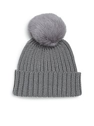 Adrienne Landau Rib Knit Rabbit Fur Pom Pom Hat Navy