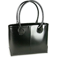 Fontanelli Polished Italian Leather Tote Bag Black