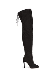 Aquazzura 'Corset Cuissard' Suede Lace Up Thigh High Boots Black