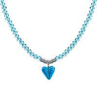 Martick Murano Heart And Crystal Pendant Necklace Turquoise