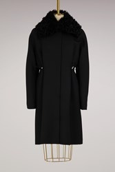 Moncler Gamme Rouge Stuart Wool And Shearling Parka Black