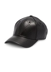 Gents Quilted Leather Cap Black