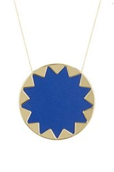 House Of Harlow Long Chain Sunburst Pendant Necklace Blue