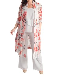 Chesca Floral Chiffon Coat Silver Grey Red