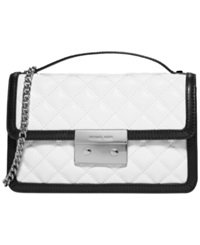 Michael Michael Kors Sloan Small Quilted Messenger Optic White Black Silver
