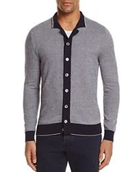 Eleventy Textured Tipped Cardigan Sweater Denim