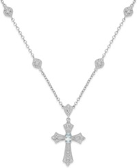 Macy's Aquamarine 1 3 Ct. T.W. And Diamond 1 10 Ct. T.W. Cross Pendant Necklace In Sterling Silver