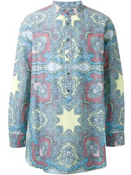 Dresscamp Paisley Print Band Collar Shirt Blue