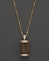 Bloomingdale's Smokey Quartz And White Sapphire Pendant Necklace With Diamonds In 14K Yellow Gold 16 Multi