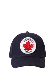 Dsquared Logo Patch Cotton Canvas Baseball Hat Navy