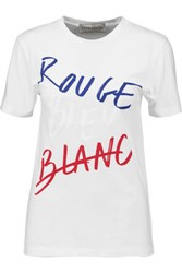 Etre Cecile Rouge Bleu Blanc Printed Cotton T Shirt White