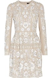 Needle And Thread Snowdrop Embellished Embroidered Georgette Mini Dress Beige