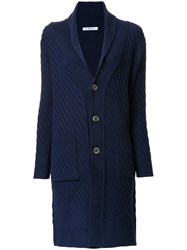Julien David Ribbed Cardi Coat Blue
