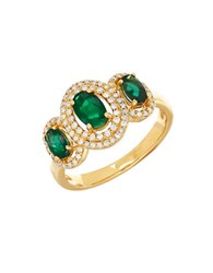 Lord And Taylor 14K Yellow Gold Emerald Diamond Ring 0.264 Tcw