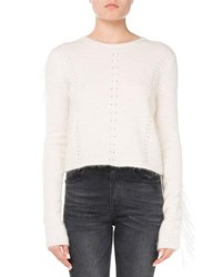 Saint Laurent Crewneck Mohair Wool Sweater With Fringed Trim White