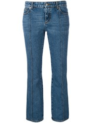 Alexander Mcqueen Cropped Flared Jeans Blue