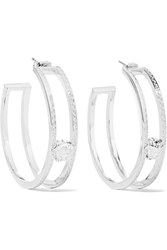 Versace Silver Tone Earrings One Size