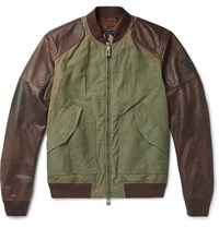 Belstaff Stradbrooke Leather And Washed Cotton Canvas Jacket Green