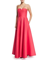 Halston Heritage Strapless Structured Gown W Pockets Size 8 Coral