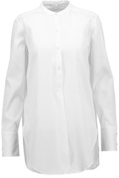 Helmut Lang Ribbed Cotton Voile Blouse White