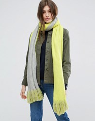 Asos Long Tassel Scarf In Supersoft Knit In Colour Block Yellow