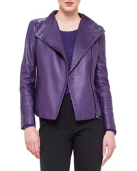 Akris Asymmetric Zip Leather Moto Jacket