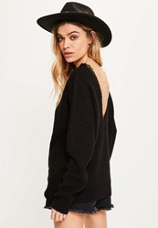 Missguided Black Lace V Back Jumper