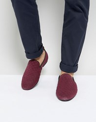 Frank Wright Slipper Shoes In Burgundy Quilted Suede Blue